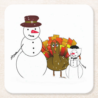 Thanksgiving Snowmen with Worried Turkey Square Paper Coaster