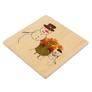 Thanksgiving Snowmen with Worried Turkey Wood Coaster