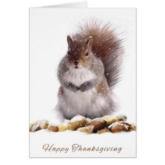 Thanksgiving Squirrel With Winter Nut Store Greeting Card