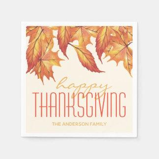 THANKSGIVING STYLISH FALLING LEAVES PERSONALIZED PAPER NAPKIN