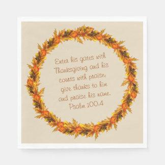 """Thanksgiving Thankful Bible Verse Napkins 6.5"""" Paper Napkin"""