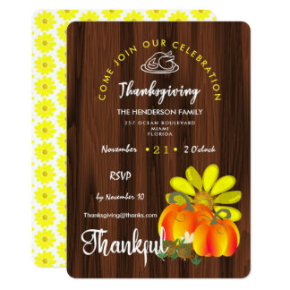 Thanksgiving Thankful Celebration Rustic Card