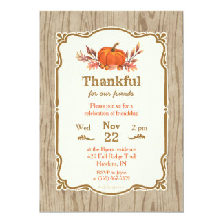 Thanksgiving Thankful Fall Pumpkin Invitation