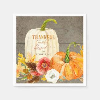 Thanksgiving Thankful Grateful Blessed Family Name Paper Napkin