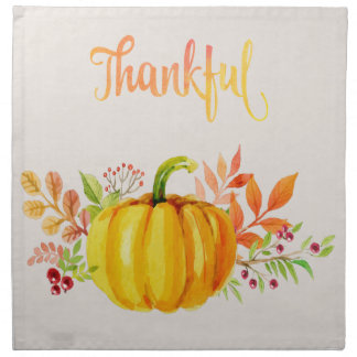 "Thanksgiving ""Thankful"" Watercolors Napkin"