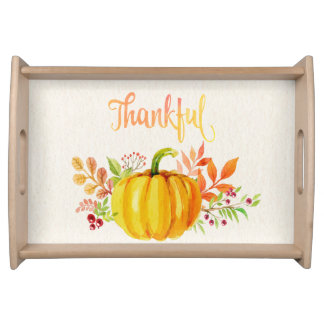 """Thanksgiving """"Thankful"""" Watercolors Serving Tray"""