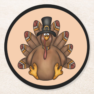 Thanksgiving Tom Turkey Holiday Round Paper Coaster
