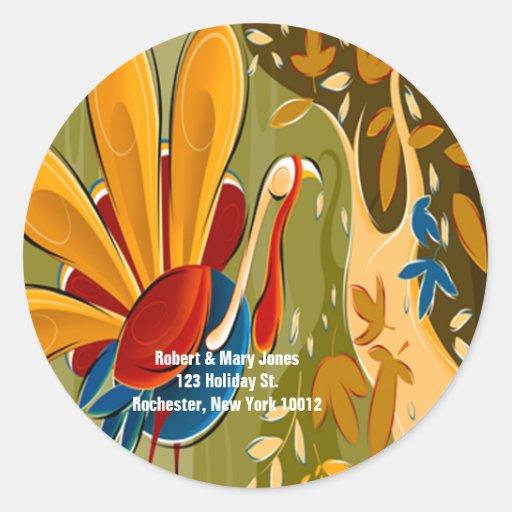 Thanksgiving Turkey Address Labels Round Stickers