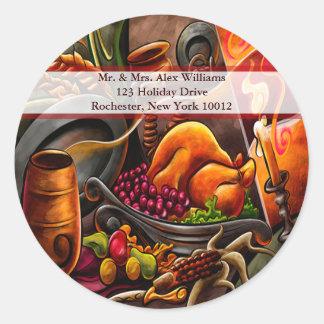 Thanksgiving Turkey Address Labels Round Sticker