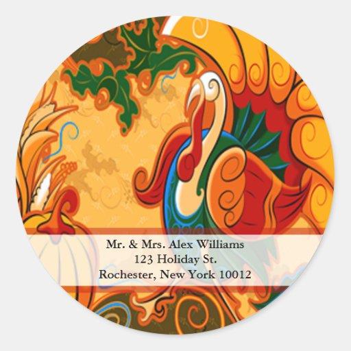 Thanksgiving Turkey Address Labels Stickers