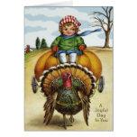 Thanksgiving Turkey Boy Riding Pumpkin Greeting Card