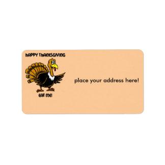 Thanksgiving turkey dinner address label