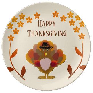 Thanksgiving Turkey Floral Frame Porcelain Plate