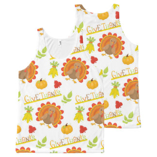 Thanksgiving Turkey Give Thanks All-Over Print Tank Top