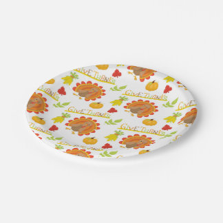 Thanksgiving Turkey Give Thanks Paper Plate