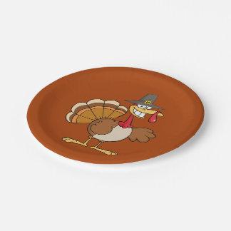 Thanksgiving Turkey Greeting Cartoon Paper Plate