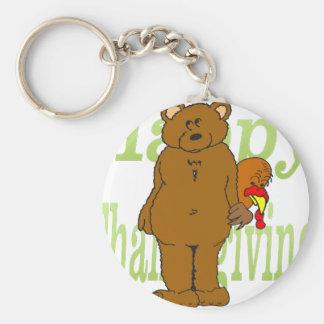Thanksgiving Turkey Hiding Behind Bear Basic Round Button Key Ring