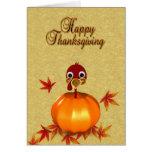 Thanksgiving Turkey in Pumpkin - Greeting Card