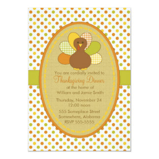 "Thanksgiving Turkey Invitation-Personalize It! 5"" X 7"" Invitation Card"