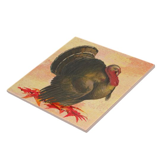 Thanksgiving Turkey Large Square Tile