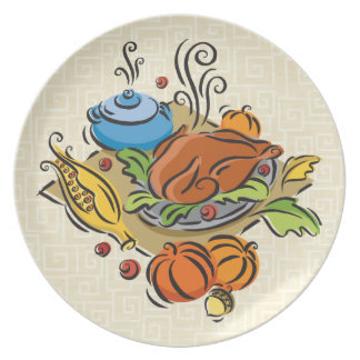 Thanksgiving Turkey Party Plate