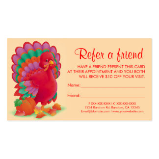Thanksgiving turkey refer a friend business cards
