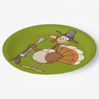 Thanksgiving Turkey Revenge Cartoon Paper Plate