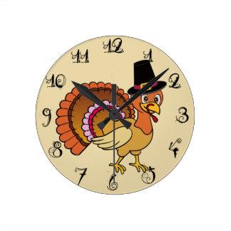 Thanksgiving Turkey Round Clock
