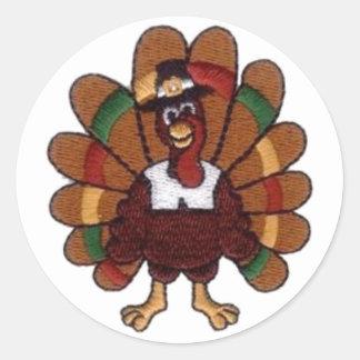 Thanksgiving Turkey Round Stickers