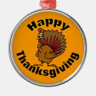 Thanksgiving Turkey Silver-Colored Round Decoration