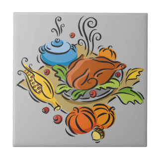 Thanksgiving Turkey Small Square Tile