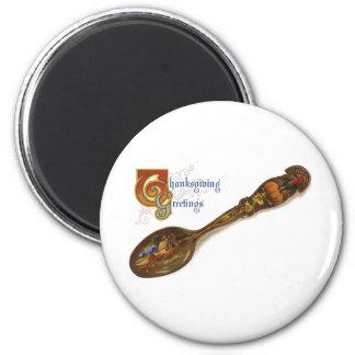 Thanksgiving Turkey Spoon 6 Cm Round Magnet