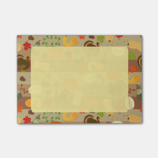Thanksgiving Turkey Squash Autumn Harvest Pattern Post-it® Notes