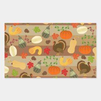 Thanksgiving Turkey Squash Autumn Harvest Pattern Rectangular Sticker