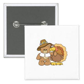 thanksgiving turkey teddy bear design 15 cm square badge