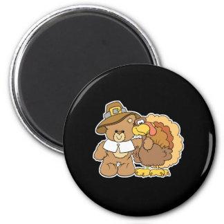 thanksgiving turkey teddy bear design 6 cm round magnet
