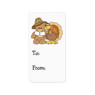 thanksgiving turkey teddy bear design address label