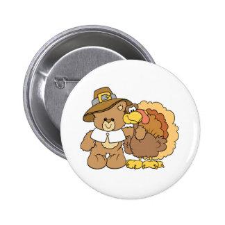 thanksgiving turkey teddy bear design buttons