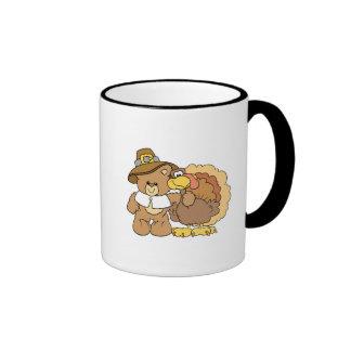 thanksgiving turkey teddy bear design coffee mugs