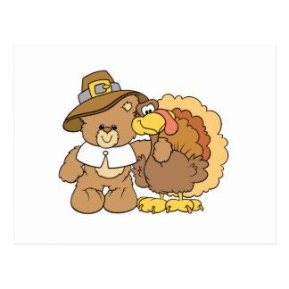 thanksgiving turkey teddy bear design postcard