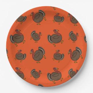 Thanksgiving Turkey Trot Orange Paper Plates 9 Inch Paper Plate
