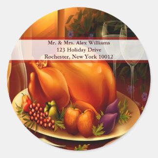 Thanksgiving Turkey Wine Holiday Address Label Round Stickers