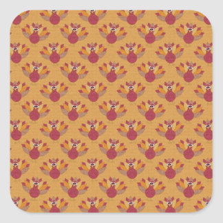 Thanksgiving Turkeys Pattern Square Sticker