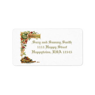 Thanksgiving Verse and Harvest Fruit Address Label