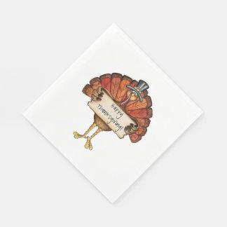 Thanksgiving/White Standard Luncheon Napkin/Turkey Disposable Napkin