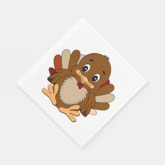 Thanksgiving/White Standard Luncheon Napkin/Turkey Paper Napkin