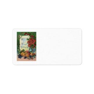 Thanksgiving Wishbone Fruit Vase Flowers Address Label