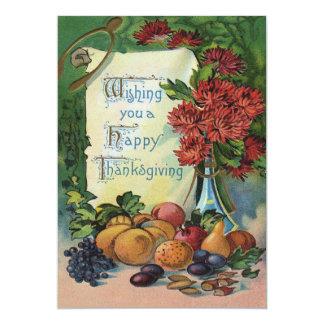 Thanksgiving Wishbone Fruit Vase Flowers Card