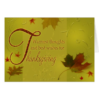 Thanksgiving Wishes Leaves - Greeting Card