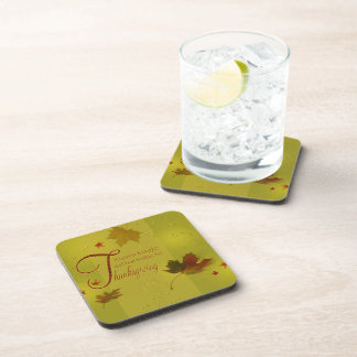 Thanksgiving Wishes Leaves - Plastic Coaster